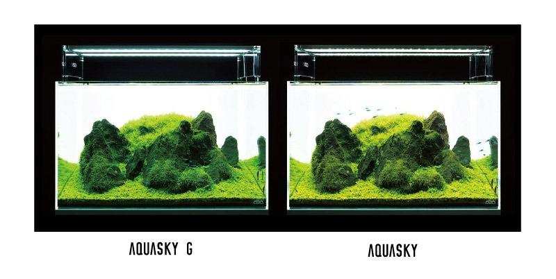ADA Aquasky G led vergelijking boven het aquarium