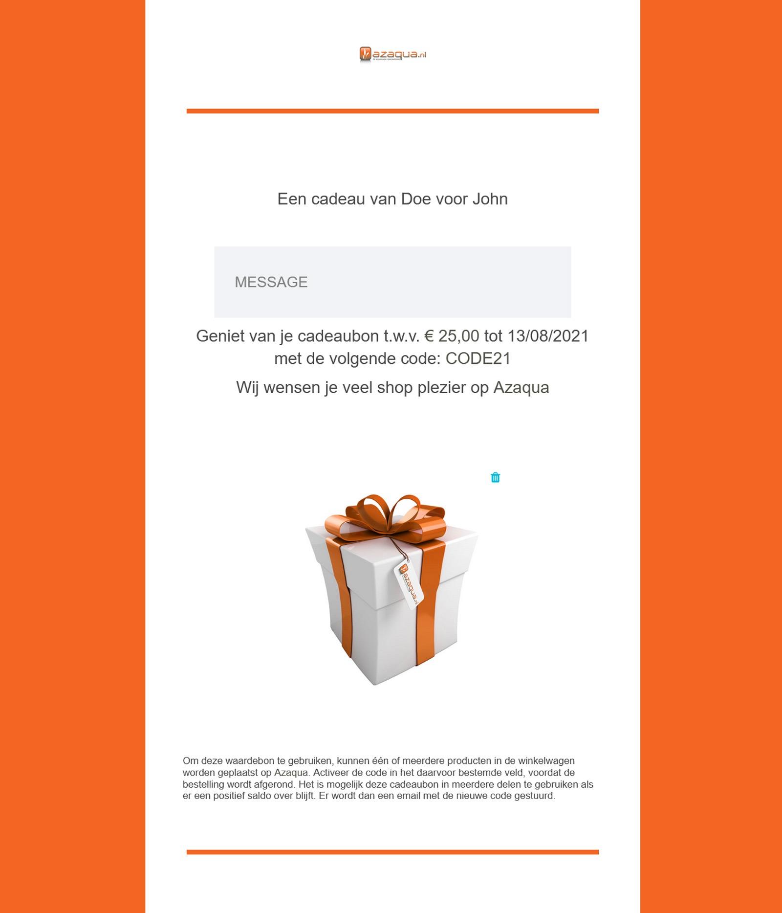 Cedeaubon email voorbeeld